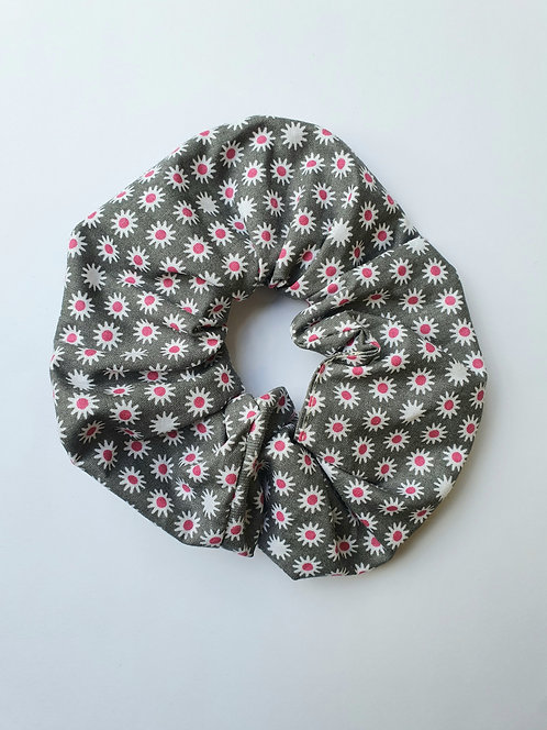 Grey and Pink Daisy Scrunchie