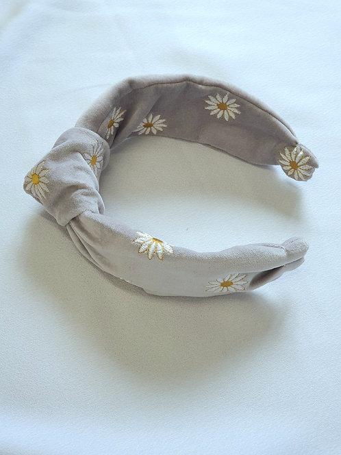 Light Grey Cotton Velvet Knot Headband with Daisy Embroidery
