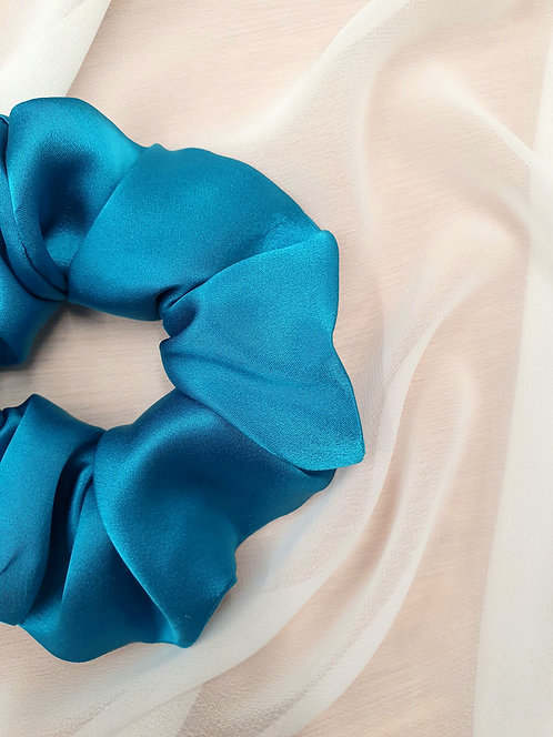 100% Pure Silk Peacock Blue Luxury Silk Scrunchie - LIMITED EDITION