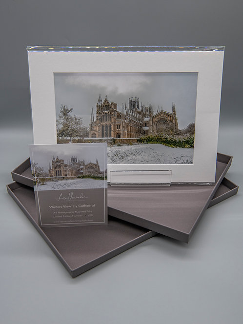 'Limited Edition Mounted Print' Winters View Ely Cathedral