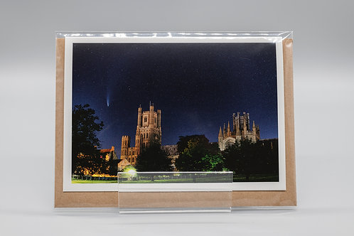 A6 Greetings Card Comet Neowise over Ely Cathedral