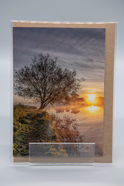 A6 Greetings Card Sunrise Reflections Ely Cambs