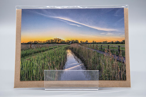 A6 Greetings Card Wicken Fen Sunset