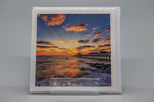 135mm Square Greetings Card Southwold Pier Suffolk