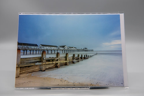 A5 Greetings Card Southwold Pier 'Cold Blue'
