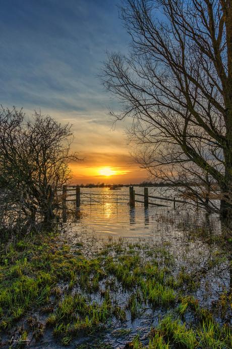 Welney Ouse Washes Flooding Sunset