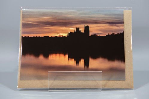 A6 Greetings Card Ely Cathedral Silhouette Sunset