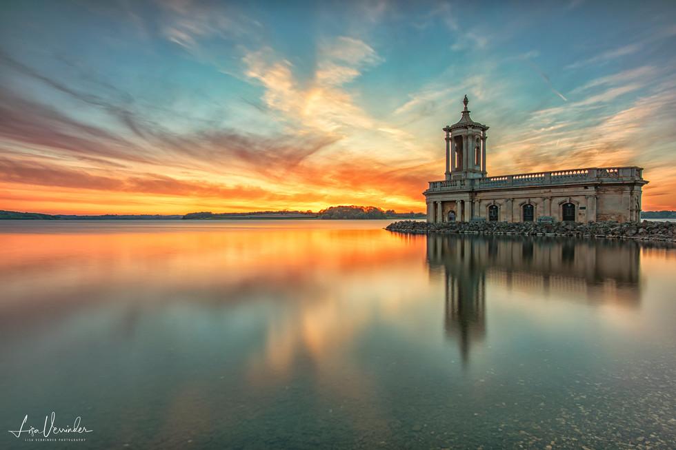 Normanton Church Rutland Water Sunset