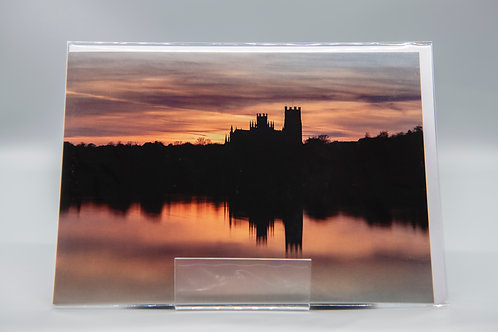 A5 Greetings Card Ely Cathedral Silhouette Sunset