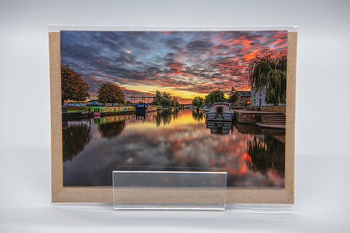 A6 Greetings Card Ely Riverside Sunset