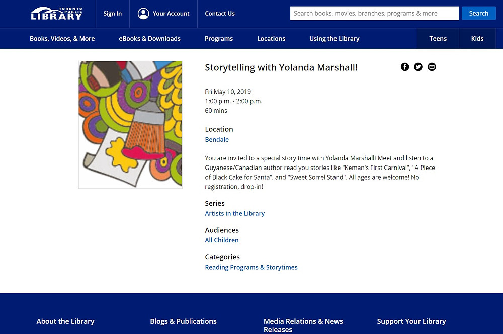 Yolanda Marshall at the Toronto Public Library