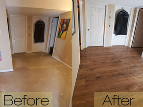 Adding Warmth to a Basement Floor with Laminate!
