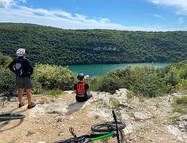 Overlooking Lim Kanal on mountain bike MTB tour