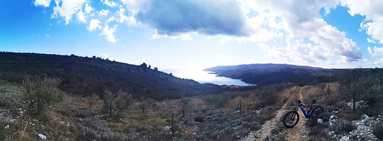 Panoramic view of Rabac on a winter ebike tour