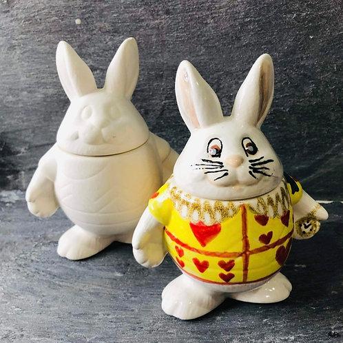 White rabbit trinket box