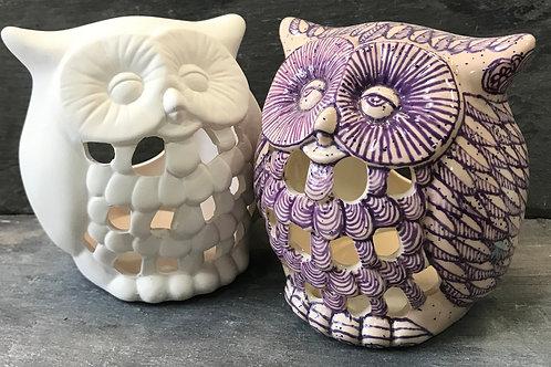 Small owl tea light holder
