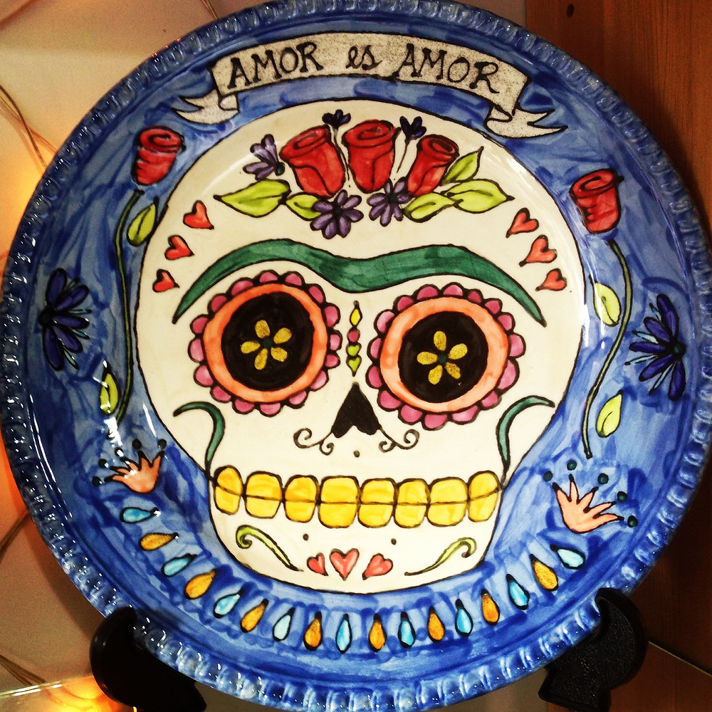 Frida Kahlo inspired Day of the Dead platter