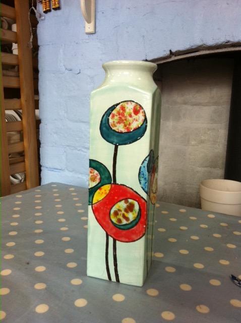 Crystal flowers slipcast vase