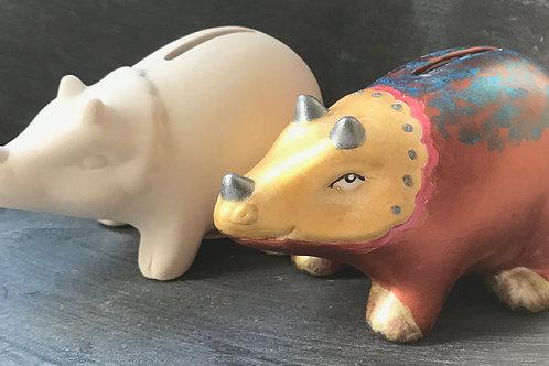 Triceratops money box