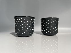black with white studs wine cup