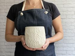 white mod fab vase