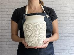 white satin large mod carved vase