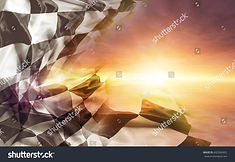 stock-photo-checkered-flag-and-bright-sk