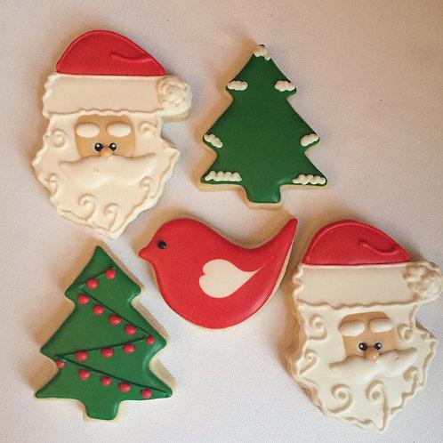 Adorable Santa, Christmas tree and love bird set