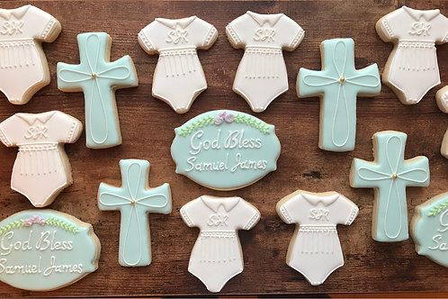 Christening/Baptism cookies, cross cookies, baby onesie