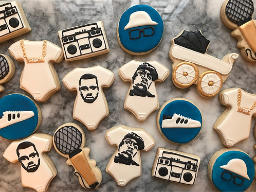 Hip hop/rap themed baby shower cookies