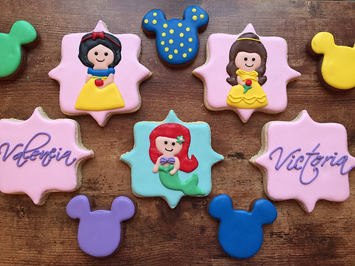 Disney princess themed cookies, birthday favors