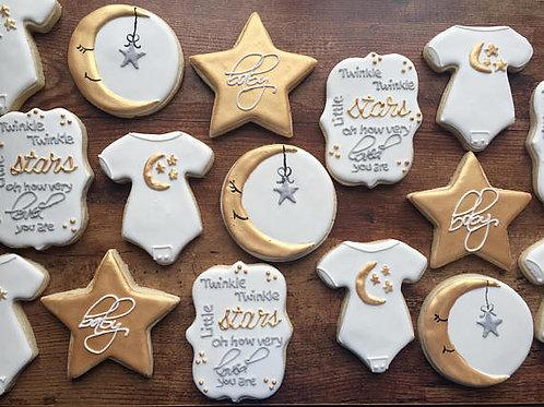 Twinkle Twinkle Little Star themed baby shower cookies
