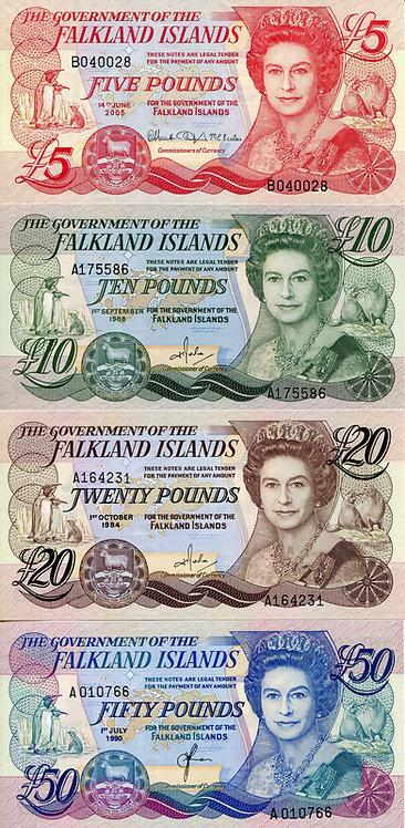 Falkland Islands, 1990-2005, 5-50 Pounds, Set (4pcs)