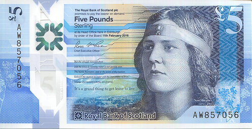 The Royal Bank of Scotland, 2016, 5 Pounds, Polymer