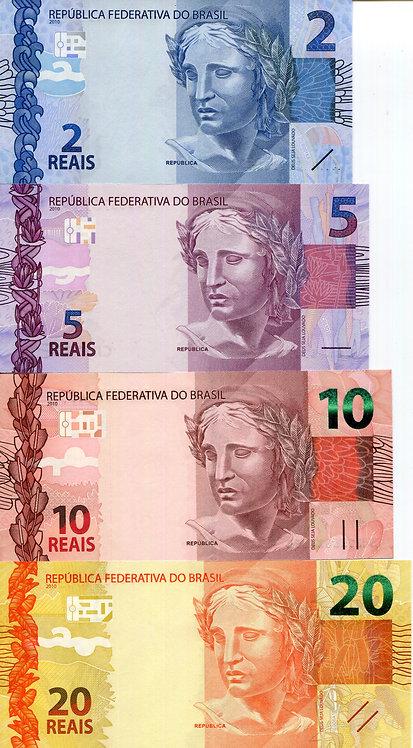 Brazil, 2010, 2-100 Reals, Set (6pcs)