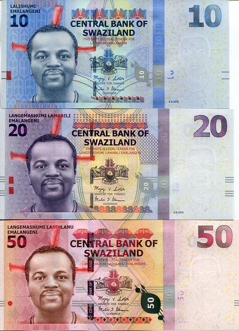 Swaziland, 2010, 10 - 200 Emalangeni (5pcs), Set