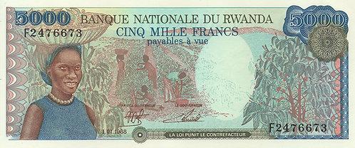 Rwanda, 1988, 5000 Francs