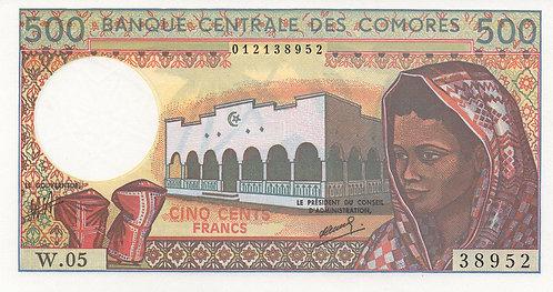 Comoros, 1986, 500 Francs