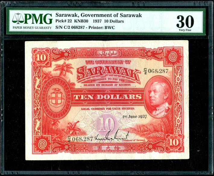 Sarawak, $10, 1937, PMG 30