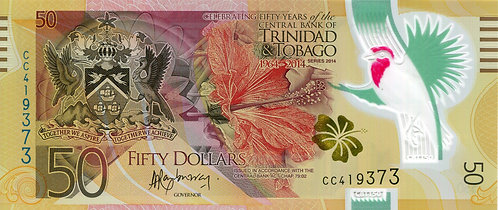 Trinidad & Tobago, 2014, 50 Dollars, Commemorative, Polymer