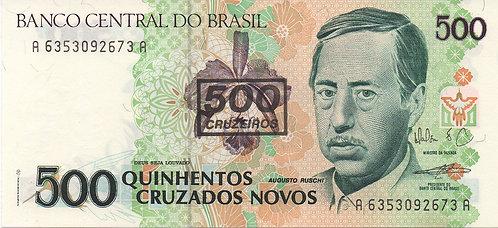 Brazil, 1990, 500 Cruzeiros