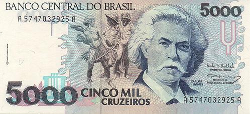 Brazil, 1993, 5000 Cruzeiros