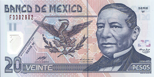 Mexico, 2003, 20 Veinte, (2 Bars) Sign 7, Serie W, Polymer
