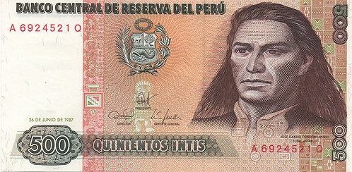 Peru, 1987, 500 Intis
