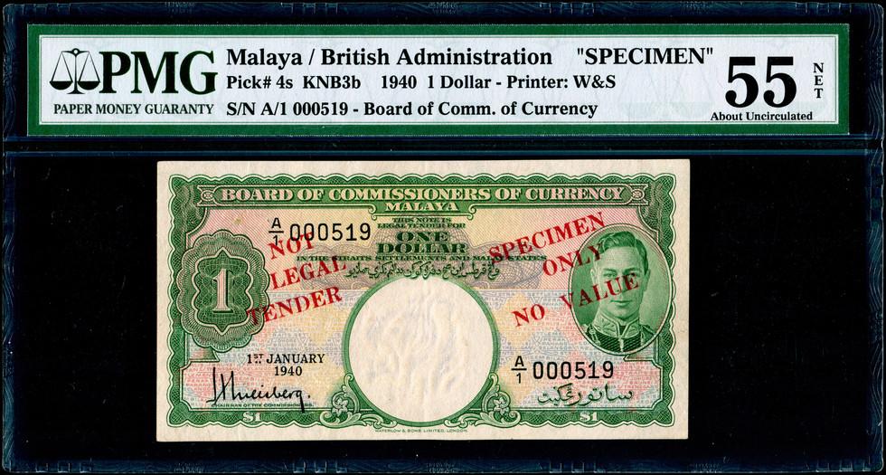 Malaya, 1940. $1 Dollar, SPECIMEN (KNB3S) PMG 55 Net