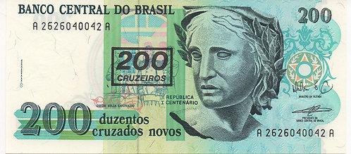 Brazil, 1990, 200 Cruzeiros