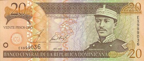 Dominican Republic, 2002, 20 Pesos Oro