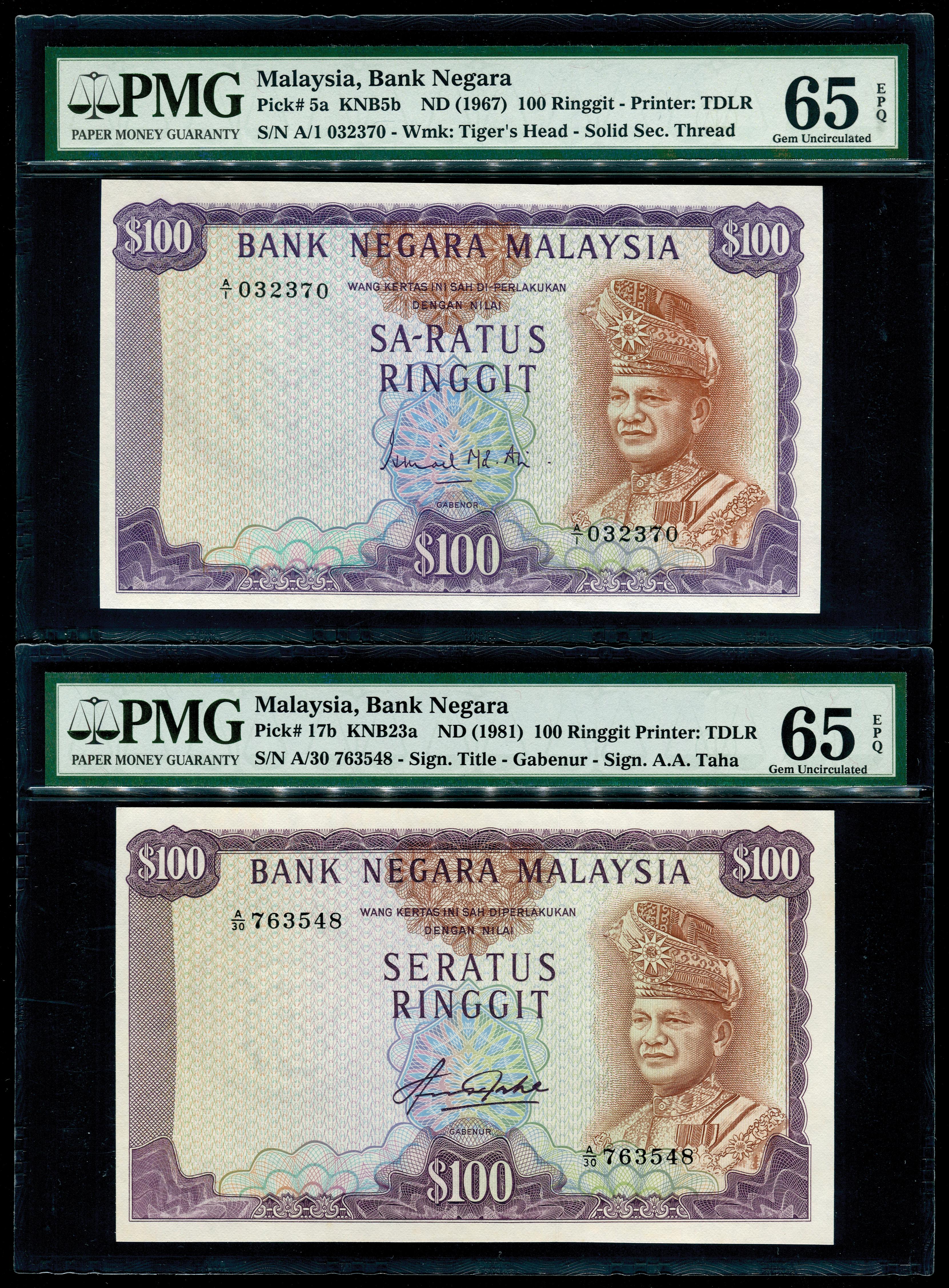 100 Ringgit, 1st & 4th Series, Ismail Md.Ali & Aziz Taha