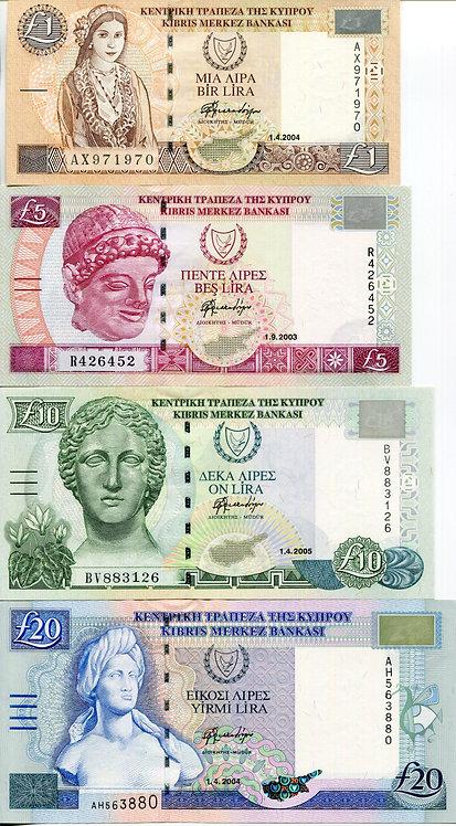Cyprus, 2003-2005, 1,5,10,20 Pounds (4pcs), Set