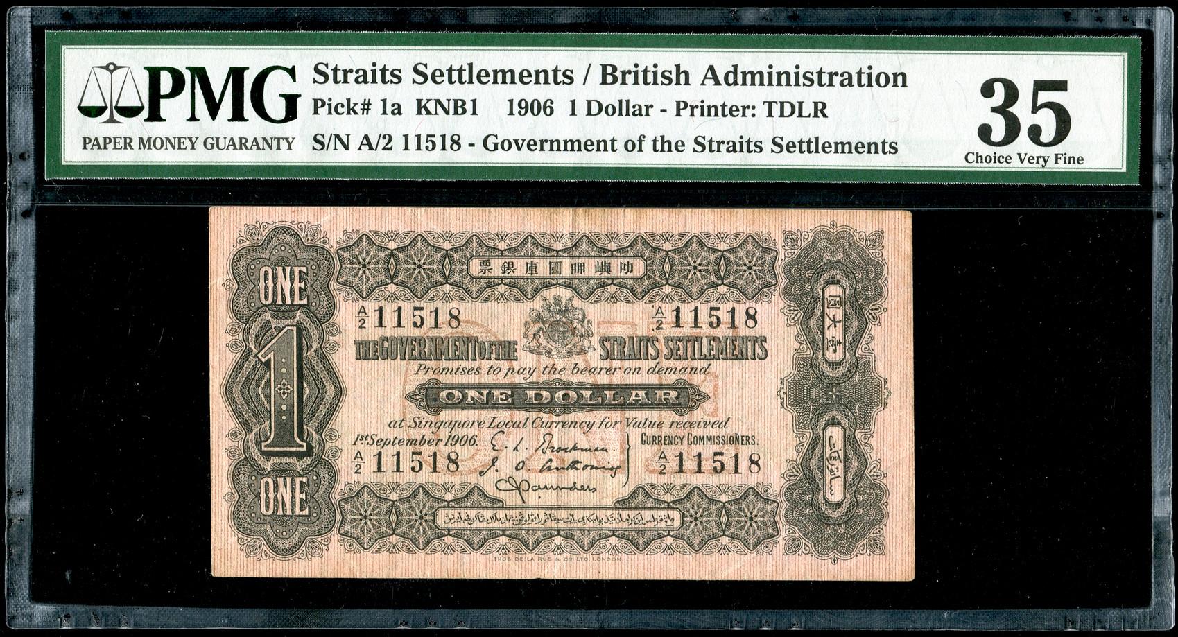 Straits Settlement, $1, 1906, PMG 35